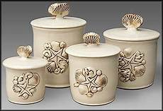 sea shell canisters kitchen canister sets beach kitchens coffee theme kitchen
