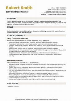 early childhood teacher resume sles qwikresume