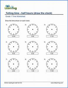 telling time free worksheets for grade 1 3566 grade 1 math worksheet telling time half hours draw the clock k5 learning