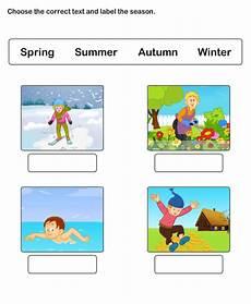 seasons in interactive worksheet
