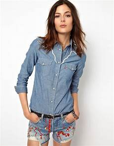 lyst asos levis denim western shirt in blue