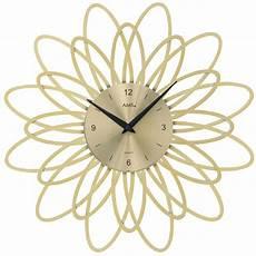ams 9361 wanduhr quarz analog goldfarben modern florales