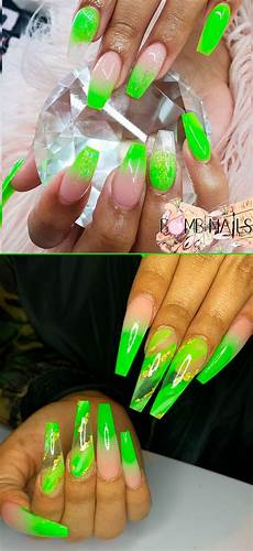 gorgeous lime green ombre coffin nails ideas in 2020