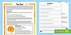poetry comprehension worksheets ks2 25258 year 5 the sun reading comprehension activity ks2 science