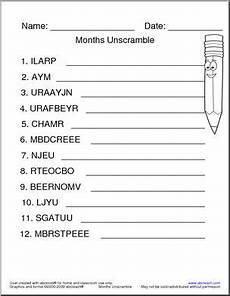 unscramble the words months abcteach