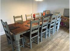 10 12 Seater LARGE FARMHOUSE DINING TABLE 10 CHAIRS OAK
