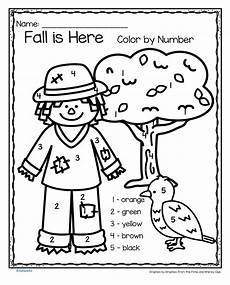 fall coloring worksheets for kindergarten 12917 fall is here color by number printables 3 pages fall preschool activities fall preschool