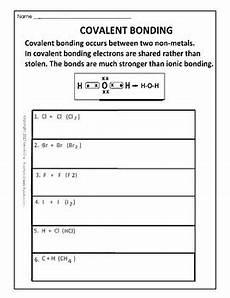covalent bonding worksheet by scorton creek publishing kevin cox