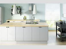 FAKTUM kitchen with APPLÅD grey doors/drawers and NUMERÄR