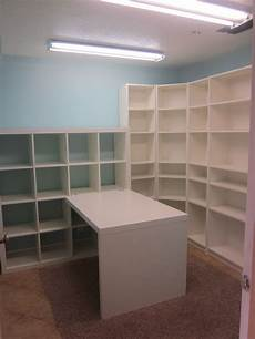 craft room sewing room ideas using lots of shelves