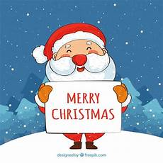 santa claus with merry christmas poster background vector free download