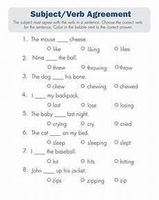 subject verb agreement quiz worksheet education com