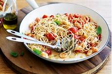 angel hair pasta with chicken recipe taste of home angel hair pasta with prawns tomatoes and basil recipe taste com au