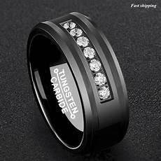 8mm black tungsten carbide ring diamonds inlay comfort fit atop men wedding band ebay