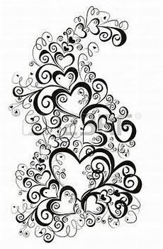 Jugendstil Malvorlagen Xl Herz Mit Floral Ornament Vektor Stockillustration