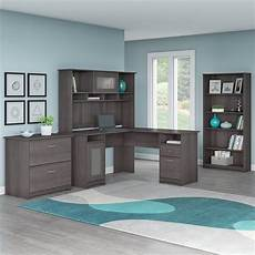 l shaped home office furniture bush furniture cabot l shaped desk office suite in heather