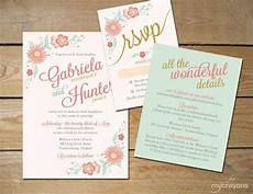 floral wedding invitation printable diy printable invitation coral and mint