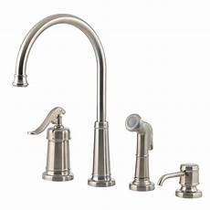 pfister faucets kitchen pfister ashfield single handle standard kitchen faucet with side sprayer and soap dispenser in