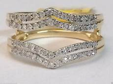 14kt yellow gold solitaire enhancer diamonds ring double