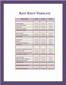 rate sheet templates 16 free printable word excel pdf