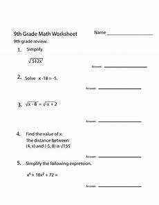 grade 9 math worksheets printable free 9th grade math
