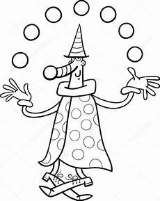 circus clown juggler coloring page stock vector