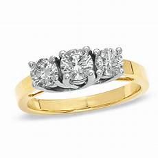 1 00 ct t w diamond three stone anniversary ring in 14k