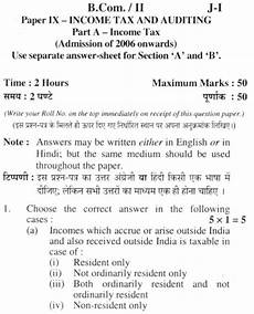 du sol b com programme question paper income tax and