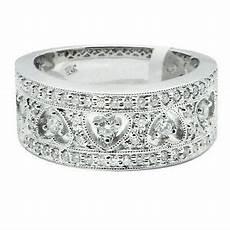 wide 14k white gold pave filigree diamond heart wedding band ring 5 6 7 8 9 ebay