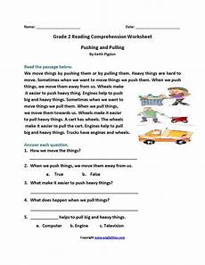 worksheets for second grade 18581 pushing and pulling second grade reading worksheets with images reading worksheets reading