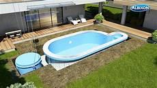 piscine hors sol coque installation piscine en coque albistone de chez albixon