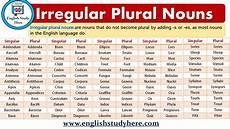 irregular plural nouns english study here