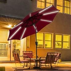 9 ft patio solar umbrella led light tilt deck waterproof garden market for sale online