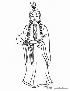 coloriages princesse indienne commanche fr hellokids