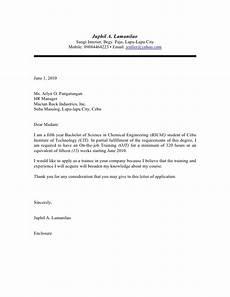 exle of application letter for nursing training