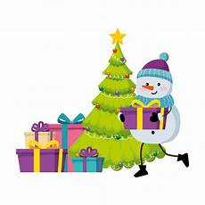 merry christmas tree with gifts and snowman premium vector