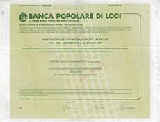 popolare italiana lodi popolare di lodi titolo finanziario storico