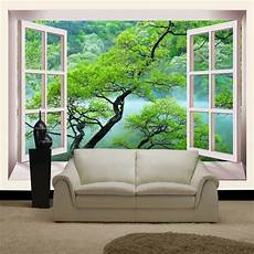 False Window Green Trees Home Decor 3d Large Mural