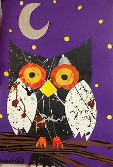 2nd grade art paper collage owl splatter art painted paper fall art projects kindergarten