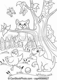 coloring pages of nature and animals 16380 coloration animaux childrens nature caneton chien chat canard kitten chiot amis