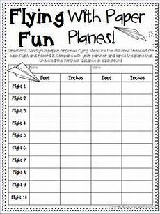 paper airplane science worksheets 15715 on measurement activity requiring students to fly paper airplanes and then measure the