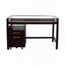 Schreibtisch Dunkles Holz - 90 glass top brown wood desk with file cabinet