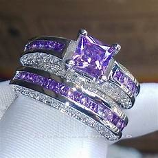 professional wholesale size 5 10 luxury trendy 10kt white gold filled purple aaa cz simulated