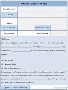 notice of dishonored check form sle forms