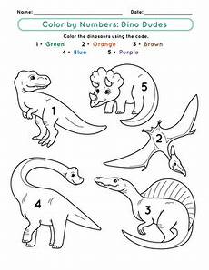 dinosaurs coloring by numbers worksheets 15350 color by number dino dudes worksheet education