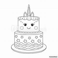 Malvorlagen Unicorn Cake Quot Unicorn Cake Coloring Book For Vector Illustration