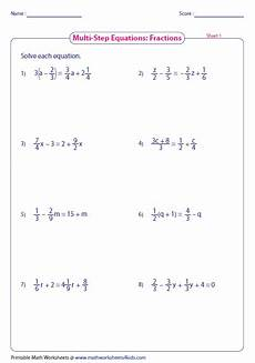 solve multi step equation two step equations fractions worksheets solving equations