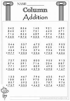 addition worksheet 4 digits 9142 three digit column addition 4 addends worksheets