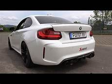 bmw m2 with akrapovic exhaust loud revs and sound youtube