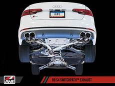 awe switchpath exhaust for audi b9 s4 non resonated diamond black 102mm tips